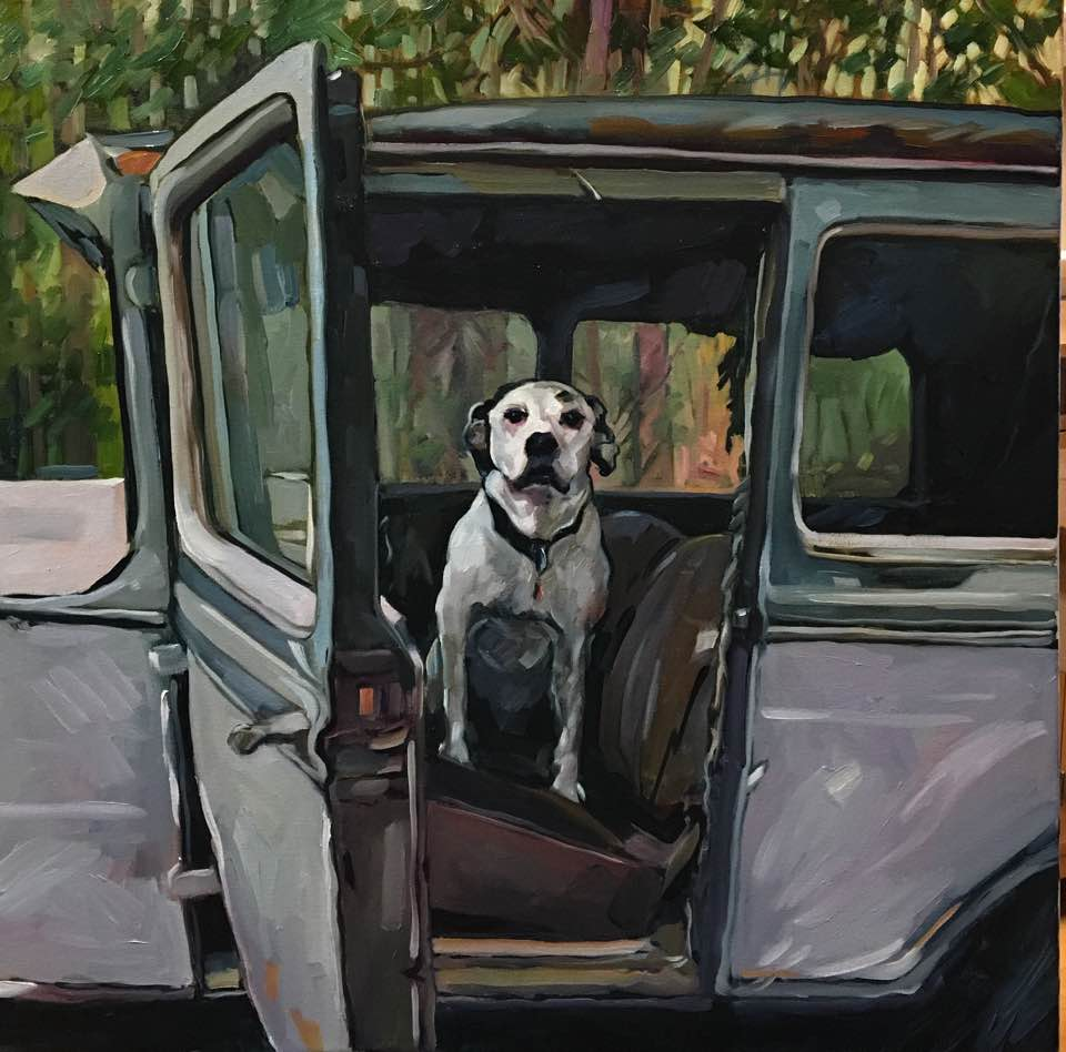 """Archie In An Old Car (oil) 24""""x24"""" $850"""
