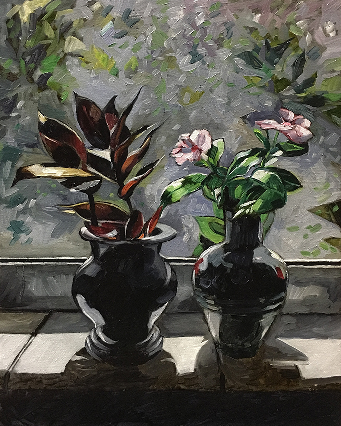 "Bedroom Windowsill (oil) 20""x16"" $650"