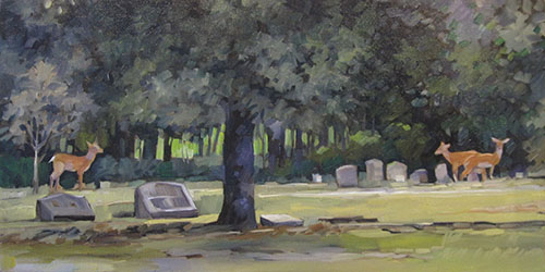 "Evergreen Cemetery (oil) 12"" x 24"" $750"