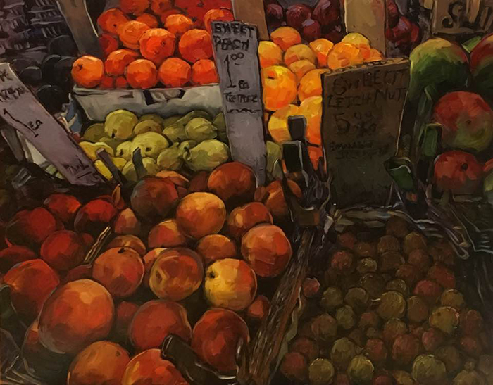 """NYC Fruit Stand (oil) 24""""x30"""" $1000"""