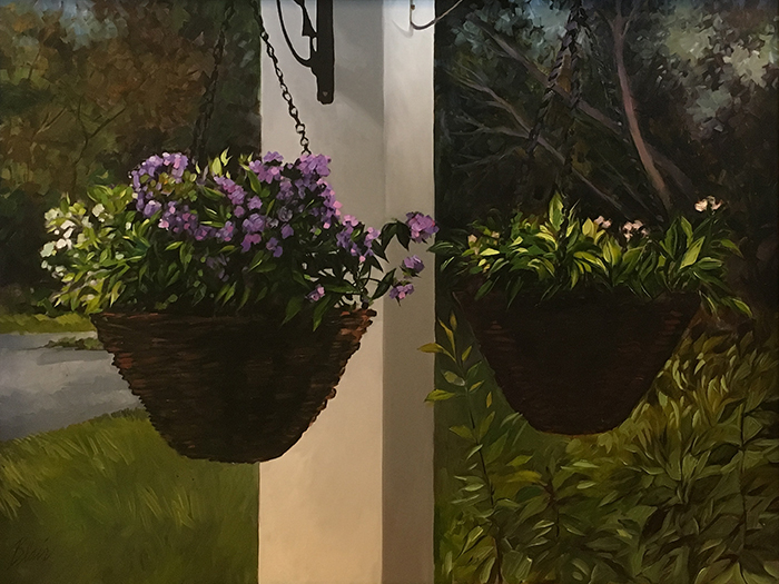 "Hanging Flower Pots (oil) 30"" x 40"" $1500"