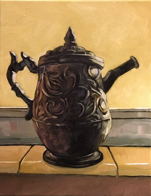 "Old Teapot (oil) 14"" x 11"" $450"