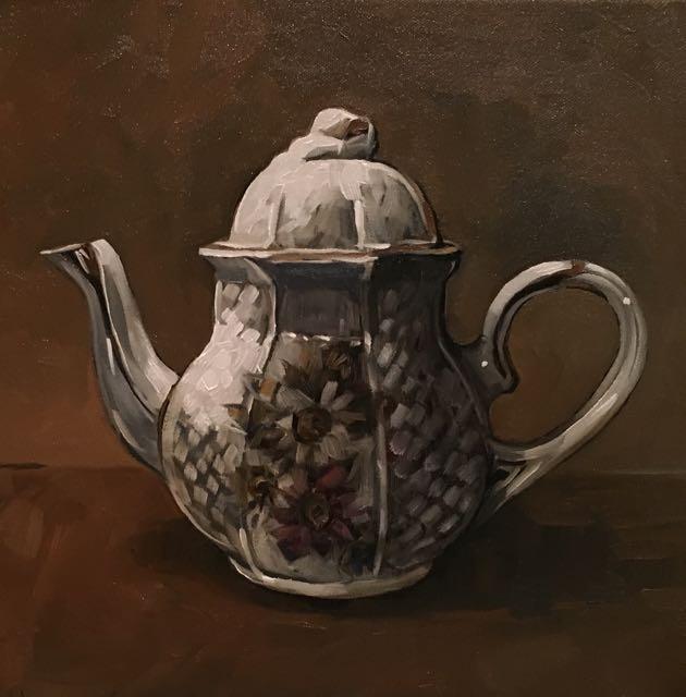 "Grandmom's Teapot (oil) 12"" x 12"" $450"