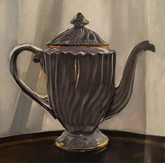 "Mom's Teapot (oil) 12"" x 12"" $450"