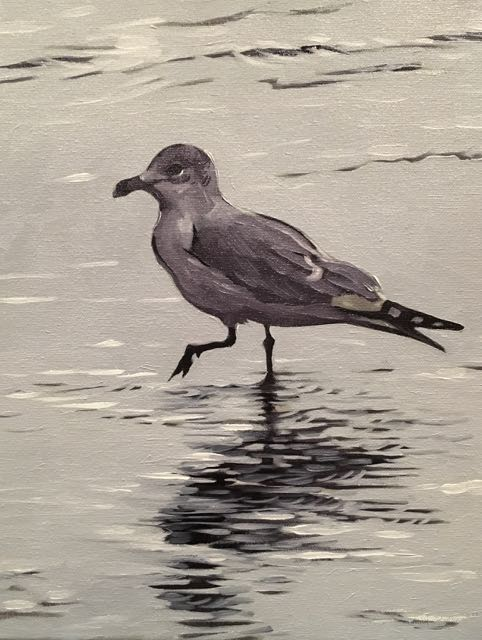 "Shore Bird (oil) 14""x11"" $350"