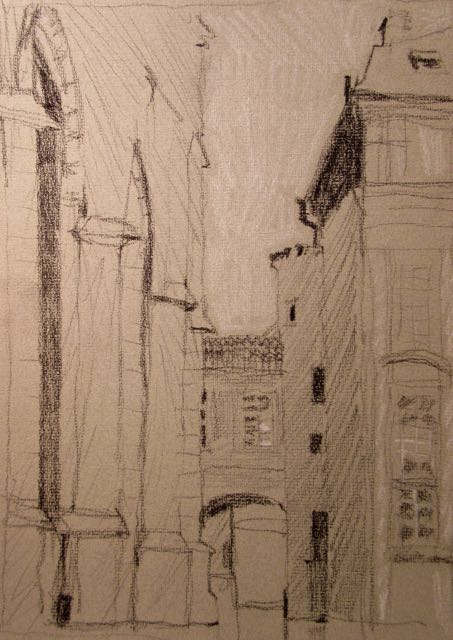 "Prague (charcoal and chalk on gray paper) 12""x9"" $150"