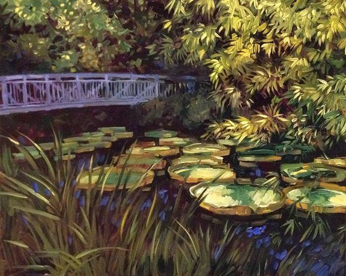 "Bridge At Kanapaha Botanical Gardens (oil)  16"" x 20""  $650"