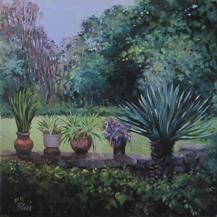 "Potted Plants At Karen Blixen's House in Kenya (oil) 20"" x 20"" $750"