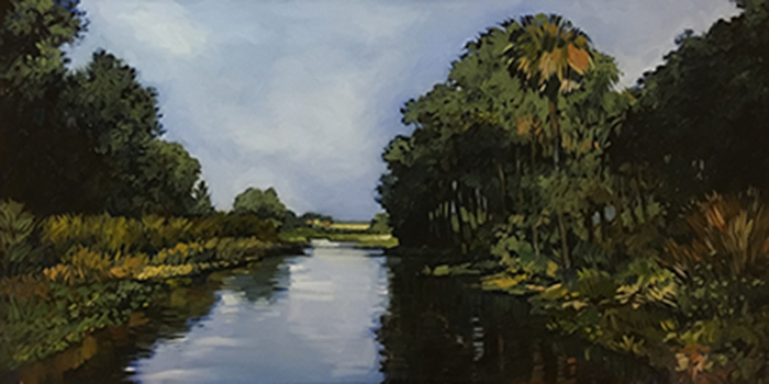 "Orange Lake (oil) 24"" x 48"" $1750"