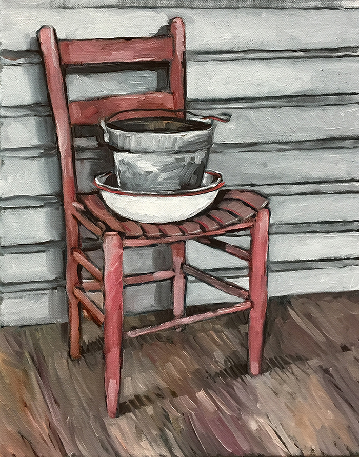 "Pink Chair at the Marjorie Kinnan Rawlings Historic State Park (oil) 14""x11"" $350"