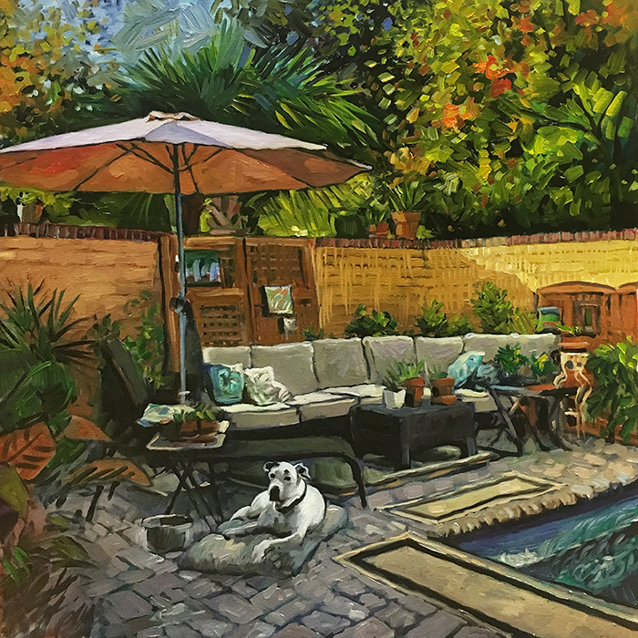 """Archie by the Pool (oil) 24""""x24"""" $850"""