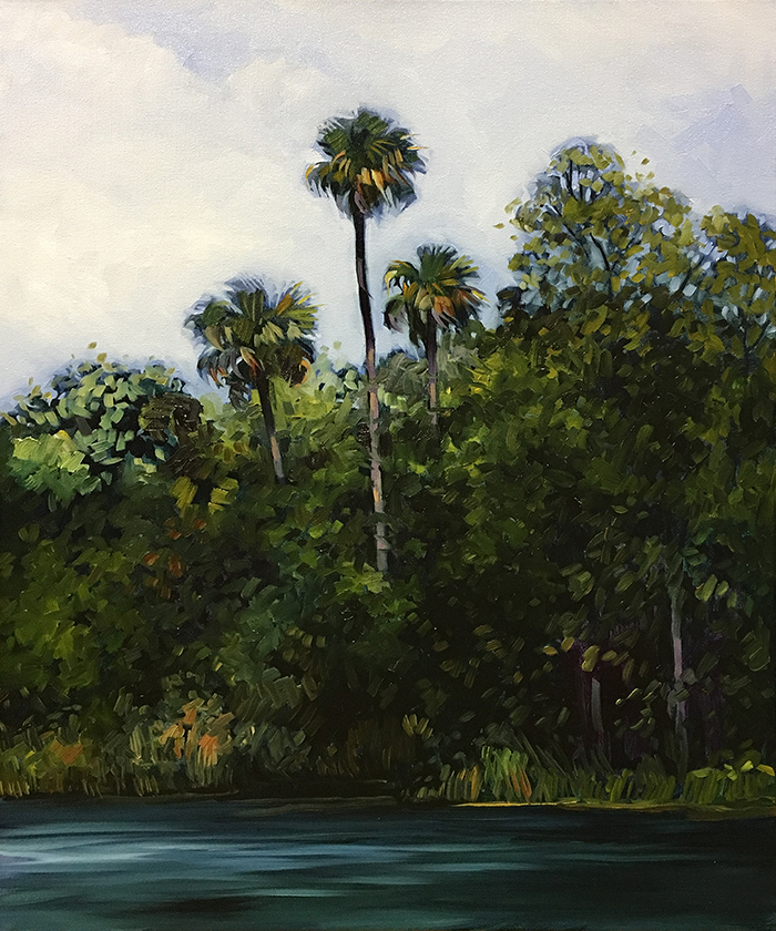 "Suwannee River Palms (oil) 24"" x 20"" $800"