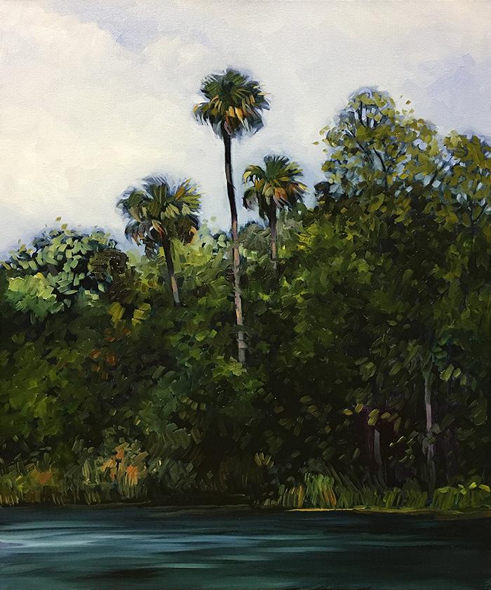 "Suwannee River Palms (oil) 24"" x 20"" $800"