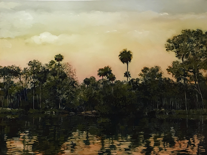 "Suwannee River Palms (oil) 36""x48"" $2000"