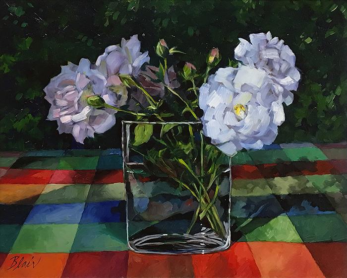 """White Roses (oil) 16"""" 20"""" $650"""